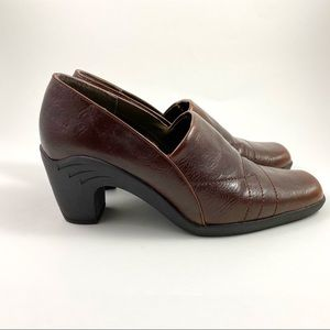 Womens Aerosoles Hot Sawce Brown Heeled Loafers 7